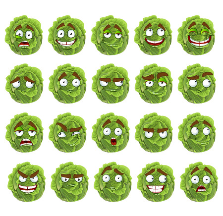 spirited: Vector cute cartoon green cabbage smile with many expressions