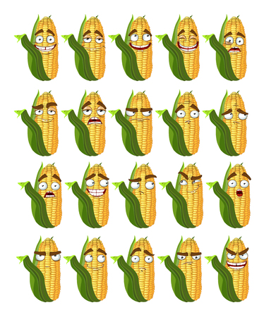thoughtfulness: Vector cute cartoon maize smile with many expressions