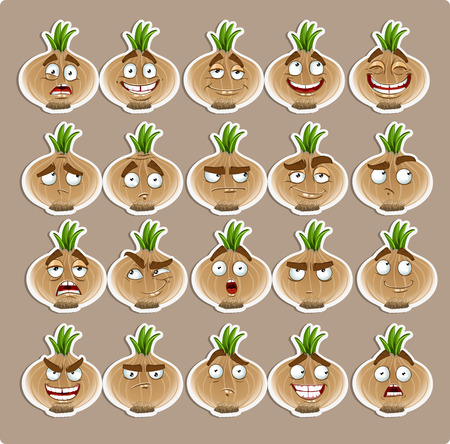 thoughtfulness: Vector cute cartoon onion smile with many expressions icons Illustration