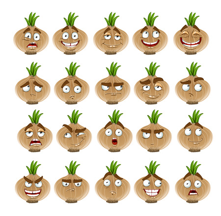 thoughtfulness: Vector cute cartoon onion smile with many expressions