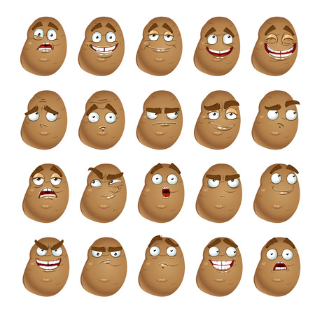 thoughtfulness: Vector cute cartoon potatoes smile with many expressions