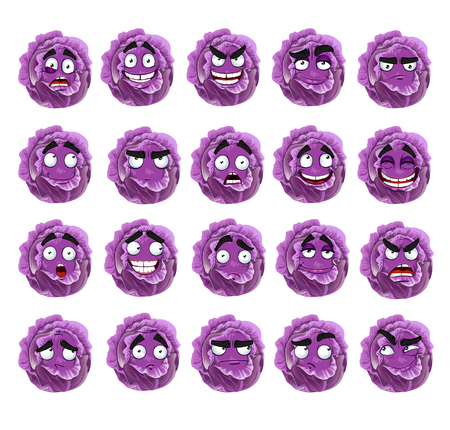 Vector cute cartoon purple cabbage smile with many expressions Illustration