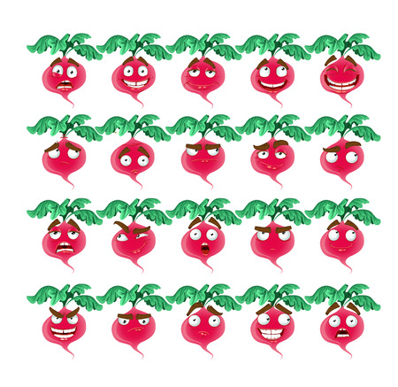 thoughtfulness: Vector cute cartoon radish smile with many expressions Illustration