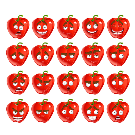 resentment: Vector cute cartoon red Bulgarian pepper smile with many expressions