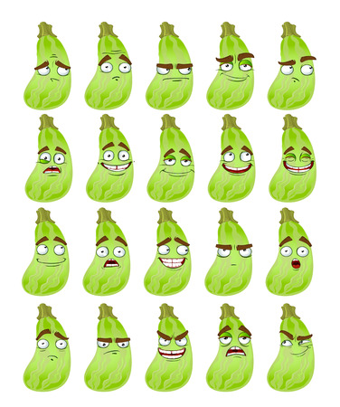 thoughtfulness: Vector cute cartoon squash smile with many expressions