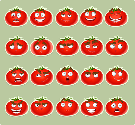 resentment: Vector cute cartoon tomato smile with many expressions icons