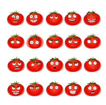 spirited: Vector cute cartoon tomato smile with many expressions