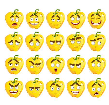 thoughtfulness: Vector cute cartoon yellow Bulgarian pepper smile with many expressions Illustration