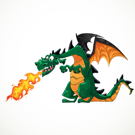 fantasy dragon: vector fabulous magical green with teeth fire-spitting dragon Illustration