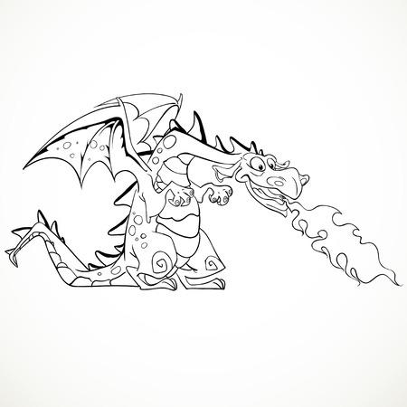 Fabulosa Que Escupe Fuego Contorno Negro Vector Mágico Dragón Rojo ...
