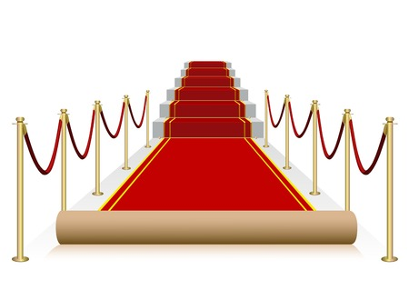 Vector red carpet isolated on white background Çizim