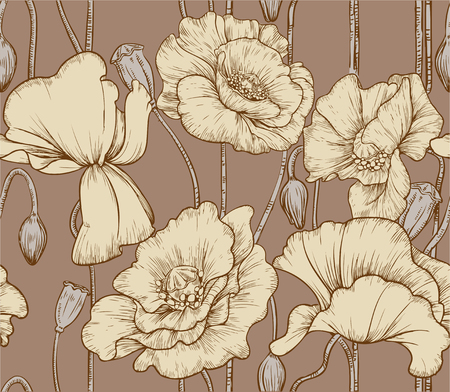 Vintage seamless pattern of pastel color poppies Vector