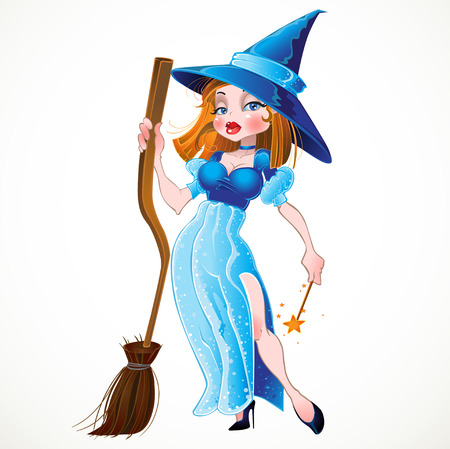 broom: witch in blue dress Illustration