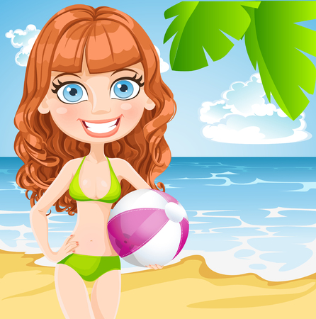 inflatable ball: Young girl in a bathing suit with an inflatable ball on sunny beach