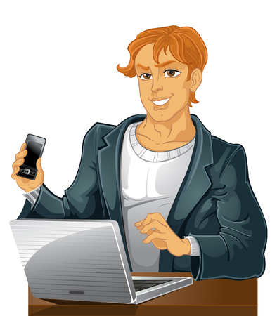 Young men with phone and laptop Stock Vector - 23150670