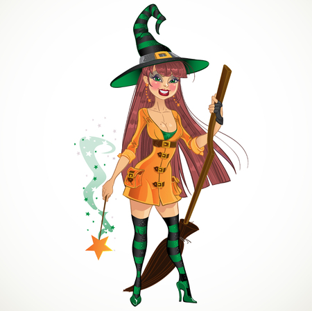 Young withc with cool magic wand and broom Vector