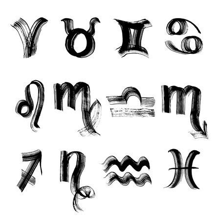 signes du zodiaque: Signes du zodiaque peints avec un pinceau