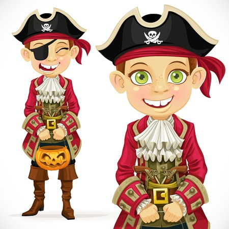Cute boy dressed as pirate Trick or Treat. Vector