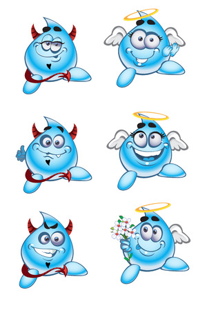 Angels and Devils smiles drops of water Stock Vector - 23150686