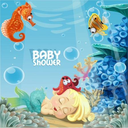 Baby shower with sleeping sweet newborn mermaid Vector