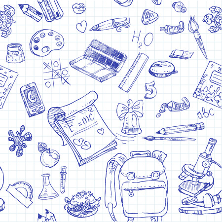 middle school: Back to School doodles seamless background Illustration