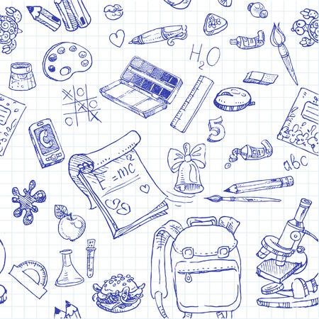 Volver a la Escuela Garabatos sin fondo Ilustración de vector
