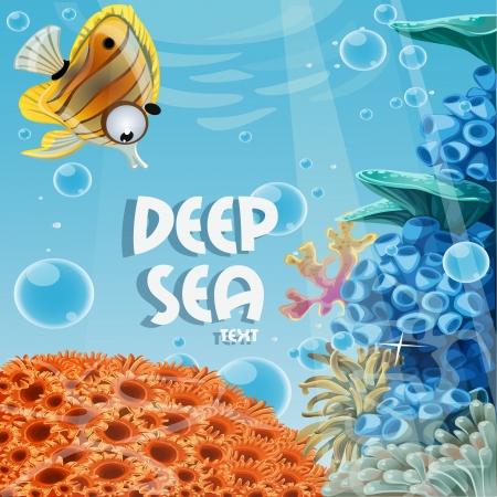 pez pecera: Bandera azul profundo del mar con arrecifes de coral y anémonas de mar