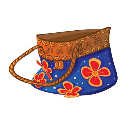 beachbag: Blue beach bright bag with flowers handmade Illustration