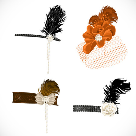 cintillos: Hermosas diademas y sombrero con plumas a una fiesta retro aislado en fondo blanco Vectores