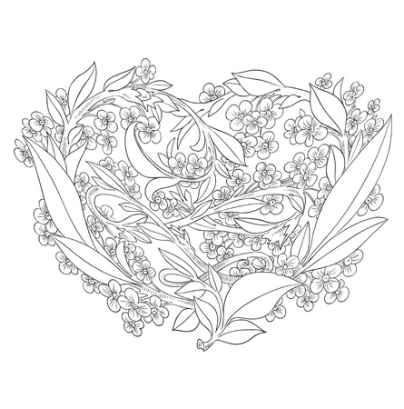 openwork: beautiful openwork heart of flowers. Valentine