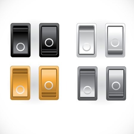 Black, silver, gold and white power switch on and off Stock Vector - 23150787