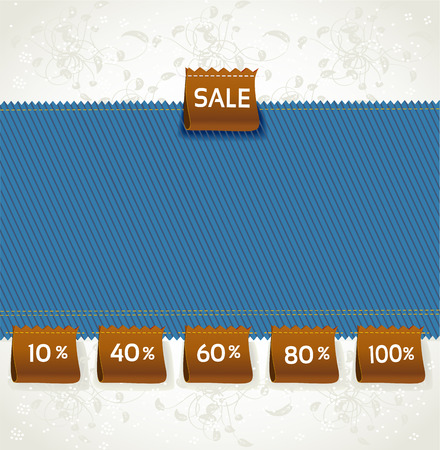 Blue environment arrival label sale percents on the fabric Vector