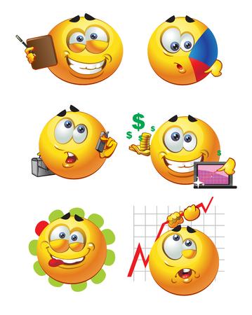 изумление: набор пакетных круглых деловых улыбок