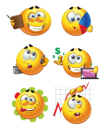 set of batch round business smiles Vector