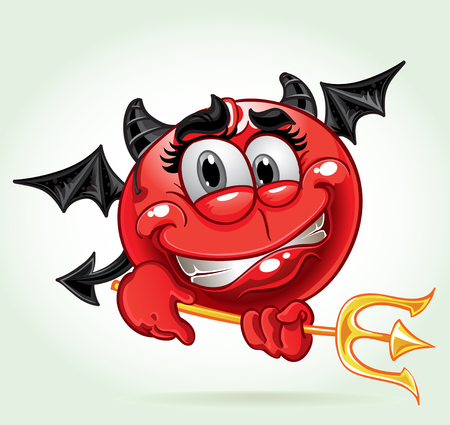 ass fun: Cheerful smile in costume devil with a pitchfork. a series of adult party Illustration