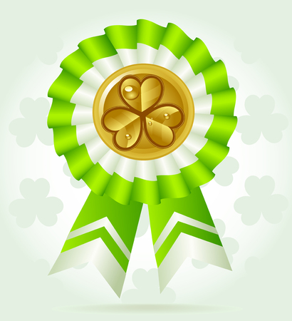 Clover award on St. PatricK`s Day with gold coin Vector