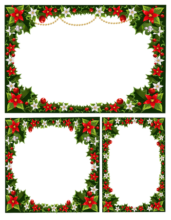 new year border: collection of beautiful decorative frames, garlands of holly, flowers, berries and mistletoe Illustration