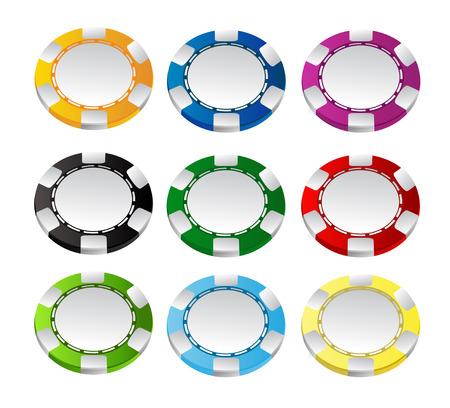賭けるチップのベクトルを設定  イラスト・ベクター素材