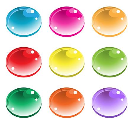 wetness: Color drops button. vector