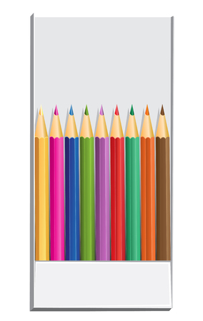 text area: Color pencils in box and text area Illustration