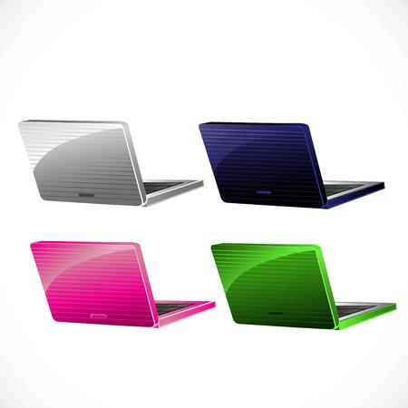 white laptop: Blu, rosa, verde, computer portatile bianco isolato su sfondo bianco