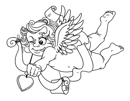 Cupid with onion and arrow black outline for coloring Vector