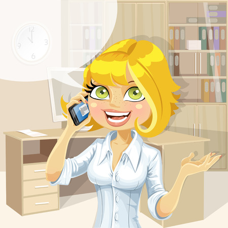 pleasant: Cute blond in office girl talking on the phone about something pleasant Illustration