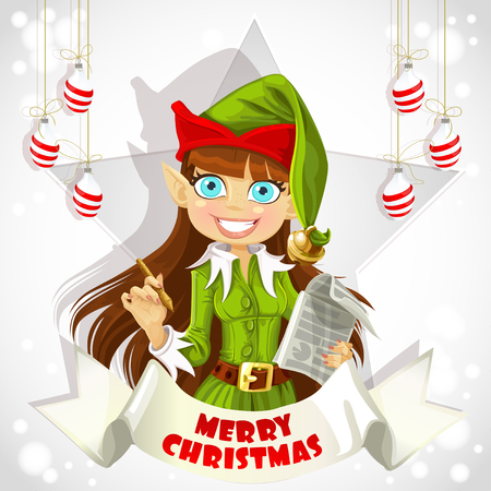 Cute christmas Elf Christmas poster Vector