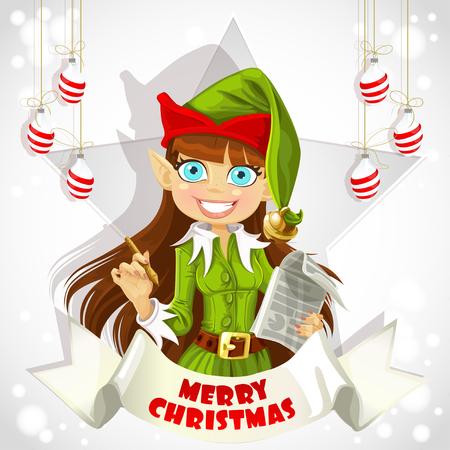 mythical festive: Cute christmas Elf Christmas poster Illustration