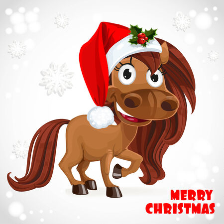 Cute Horse on Christmas card Vector