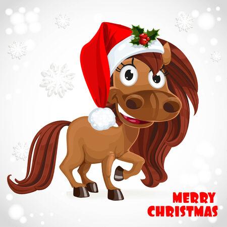 horse drawn: Cute Horse on Christmas card