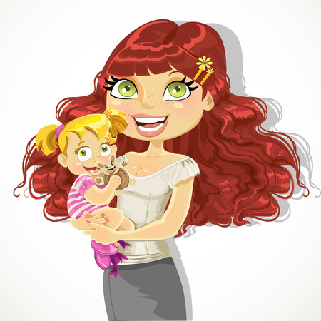 Cute mom with her daughter in arms Vector