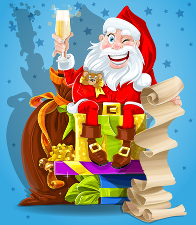 oldman: Cute Santa Claus with gifts and champagne Illustration