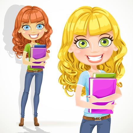 Cute teen girl with wavy hair keeps books